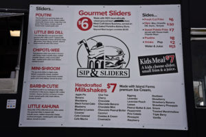 Sip and Sliders Food Truck Menu