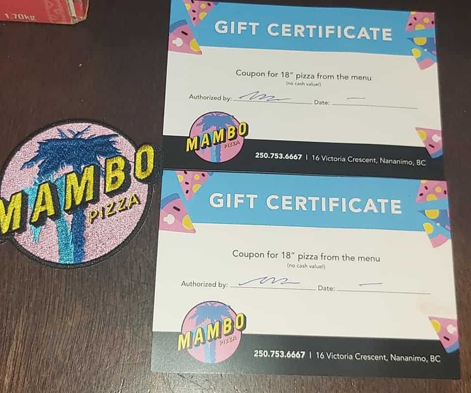 Mambo Gourmet Pizza – Two gift certificates for two 18 XL pizzas